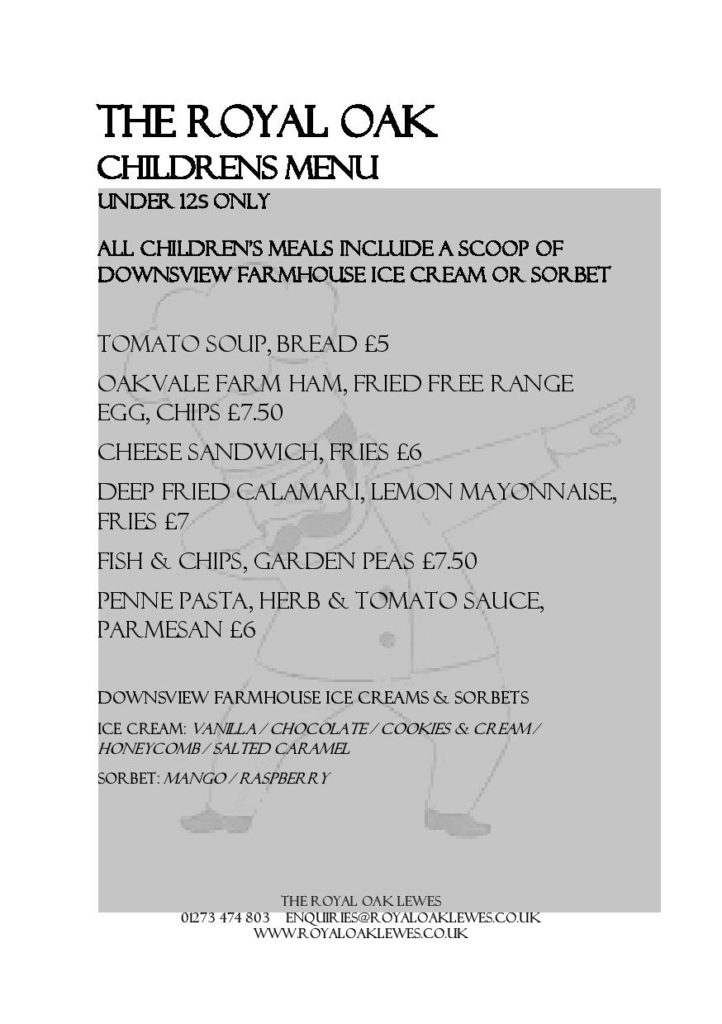 image regarding Printable Menus identified as Menus - Royal Oak Lewes